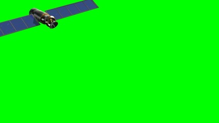 satellite in fly - green screen - close up
