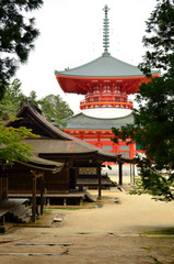 Big red stupa on Mount Koya
