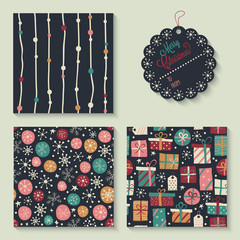 Set of Christmas holiday seamless patterns and gift tag.
