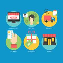 Flat icons design for online shopping, support and e-commerce