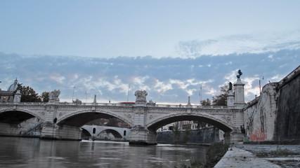 time lapse of the Vittorio Emanuele II bridge in Rome, Italy