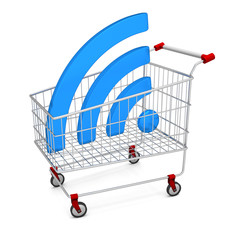 Abstract image symbol wi-fi in the shopping cart. Illustration.