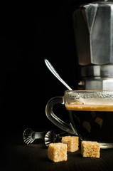 coffee with an old metal coffee maker