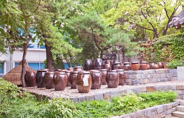 Korean jars Onggi in Namsangol Hanok Village of Seoul, Korea