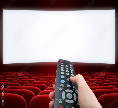 Papiers peints Opera, Theatre cinema screen with remote control in hand