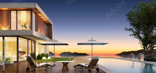 Modern house by the sea poster