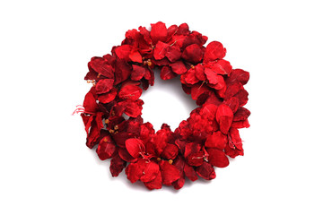 Christmas red wreath isolated