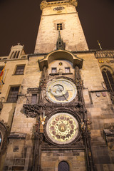 Night view of the medieval astronomical clock, Prague