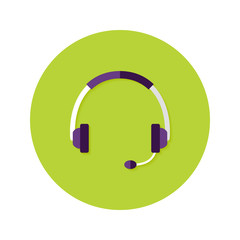 Headset Callback Flat Circle Icon