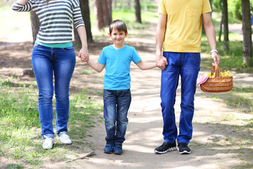 Happy family, walk in the park