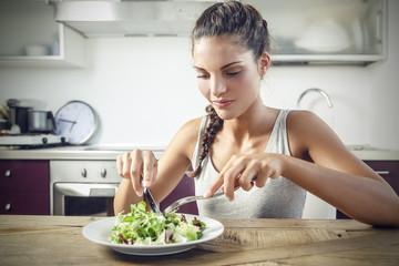Eating a healthy salad
