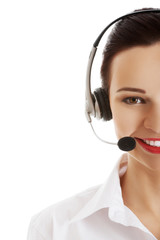 Portrait of happy phone operator in headset