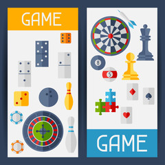 Vertical banners with game icons in flat design style.