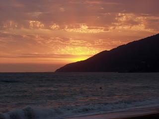 Bright red sea sunset