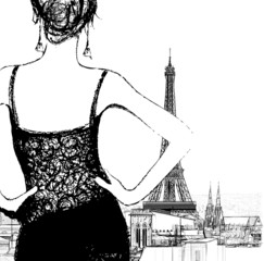 Young woman looking over Paris