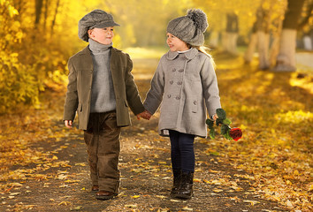 Autumn romantic girl and boy