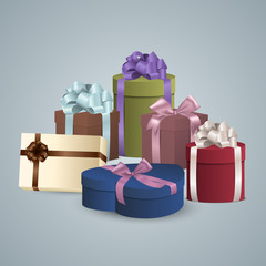 Pile of colorful gifts box