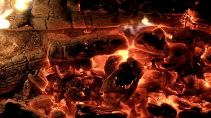 Red hot burning coals background