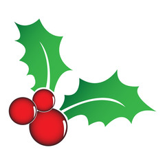 Holly berry symbol twith 2 leaves