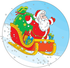Santa Claus sleighing with Christmas gifts
