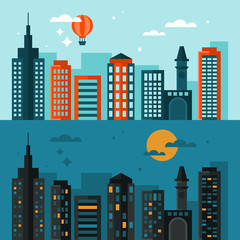 Flat modern design of city skyline at day time and night time