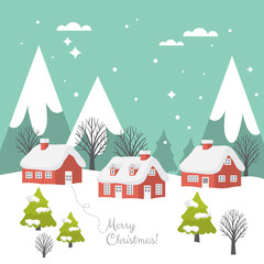 Merry Christmas greeting card design with country landscape