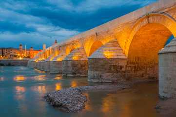 Roman Bridge of Cordoba at night (Spain)