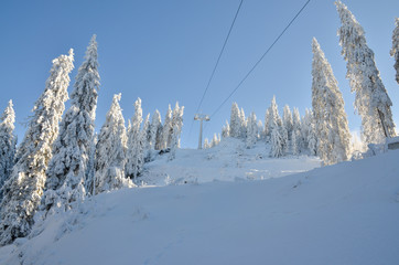 Ski slope in winter, and cable car track full of snow