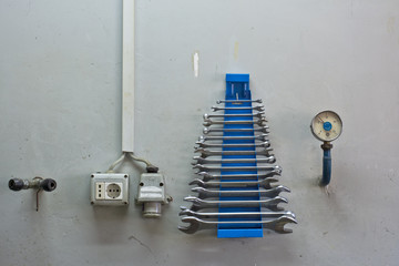wall in the mechanic workshop horizontal