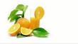 Orange and grapefruit rotating on white background
