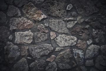 Wall built of natural stone