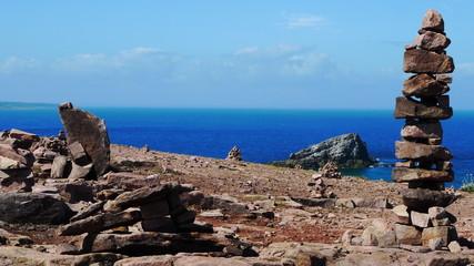 Kern ou tas de cailloux au Cap Frehel en Bretagne