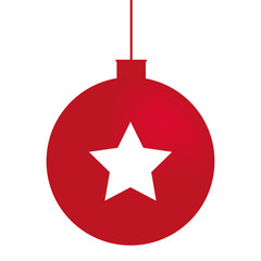 Minimal Christmas red ball with star