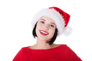 Portrait of happy woman in santa clothes