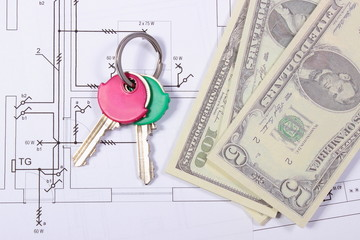 Banknotes and keys on construction drawing of house