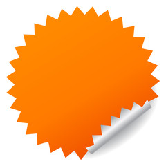 Blank orange vector sticker