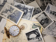 canvas print picture - pocket watch with old photographs