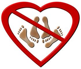 No Love Making Feet Sign