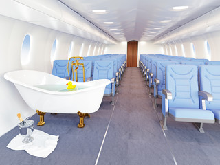 luxury bathtube in airplane