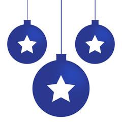 Minimal Christmas blu balls with stars