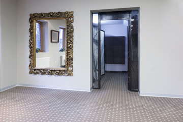 Interior of a luxury corridor with passenger lift
