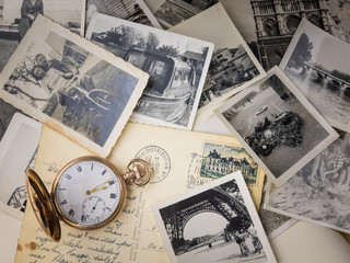 pocket watch with old photographs