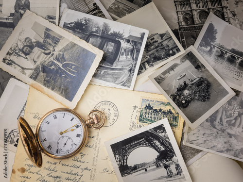 canvas print picture pocket watch with old photographs
