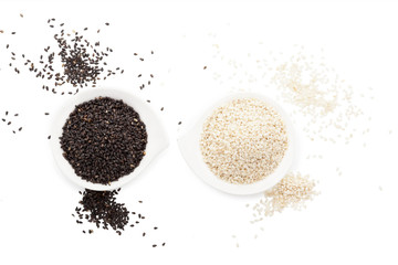 Sesame seeds isolated on white.