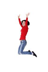 Full length cheerful woman jumping