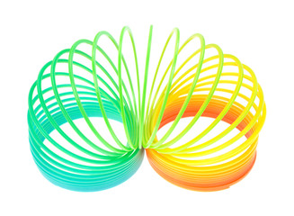 Spiral Toy On White Background Half Uncoiled