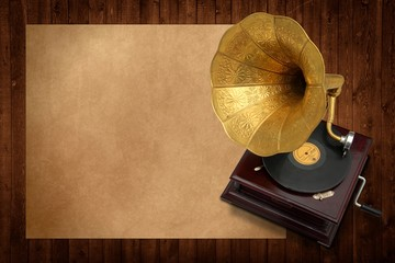 Old music with antique gramophone