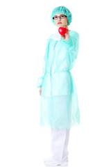 Full length female doctor holding heart model