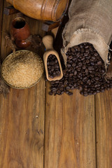 Cuban rusted coffee beans with cane sugar