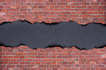 Old brick wall with paper frame